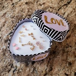 NWOT Love Heart Shaped Tin with 9 Pair of Earrings